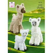 King Cole Tufty Chunky Yarn Knitting Pattern 9101 Teddy Bears 2 Sizes