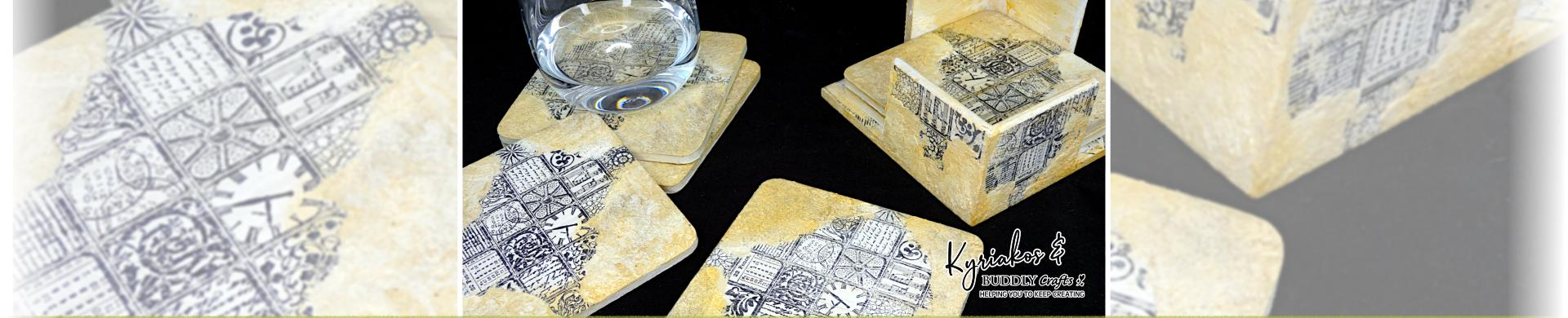Arty Mosaic Rubber Stamped Coasters