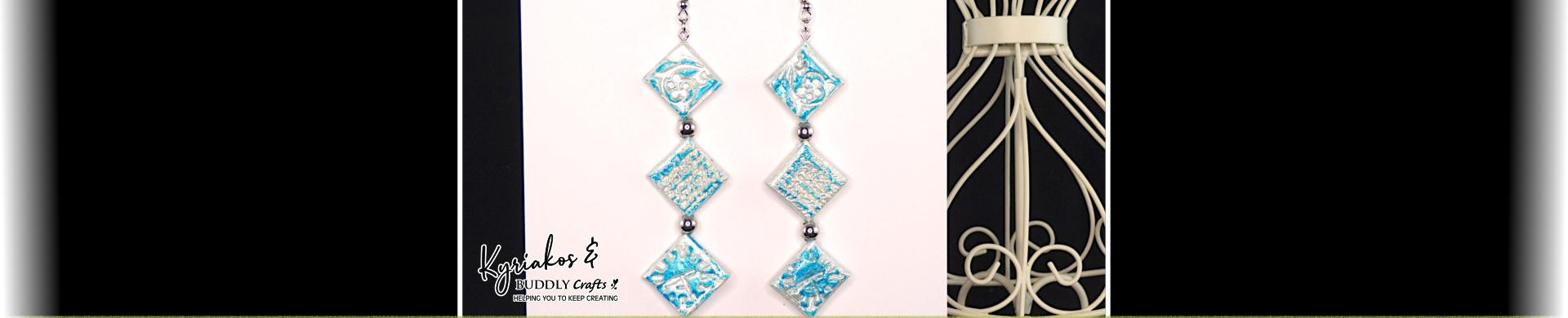 Arty Mosaic Rubber Stamped Clay Earrings