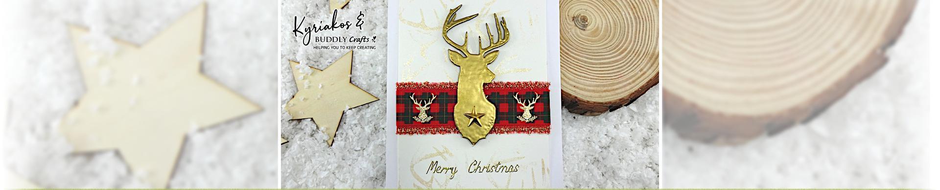Golden Deer Christmas Card