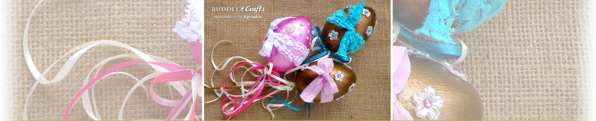 Lace Decorated Metallic Easter Egg Plant Pokes