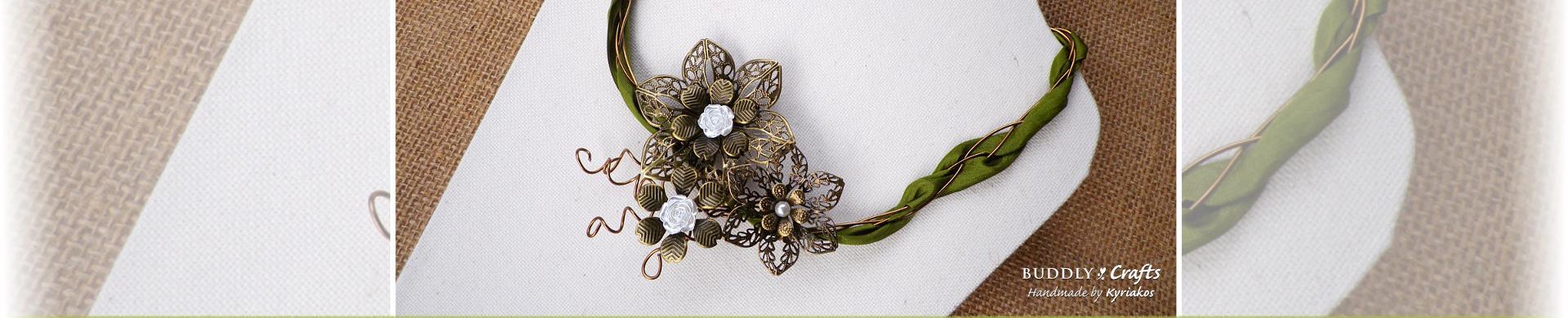 Step by Step Filigree Metal & Silk Ribbon Necklace