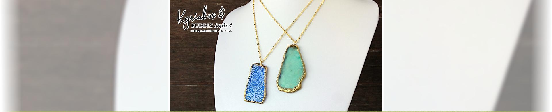 Stamp & Emboss Sea Glass Pendants
