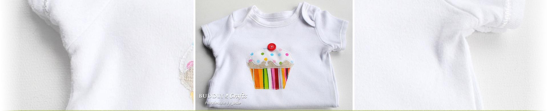 Sew Sweet Baby Vest Appliquéd Cupcake Onesie