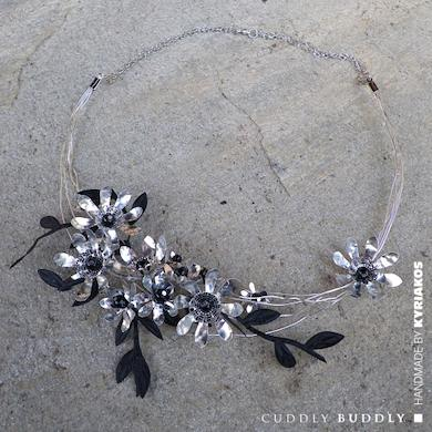 Punched Metal Foil Daisies Bohemian Necklace Tutorial