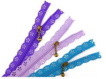20cm Lace Edge Zippers