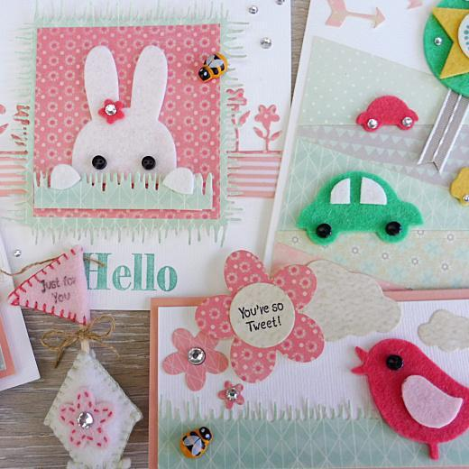 Make Cute Cards with Die-Cut Felt Shapes