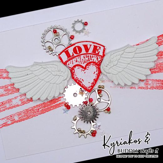 Moulded Clay Wings Love Card