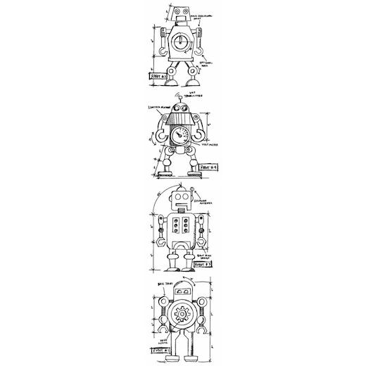 Tim Holtz Rubber Stamp Set Mini Robot Blueprints Mb 26