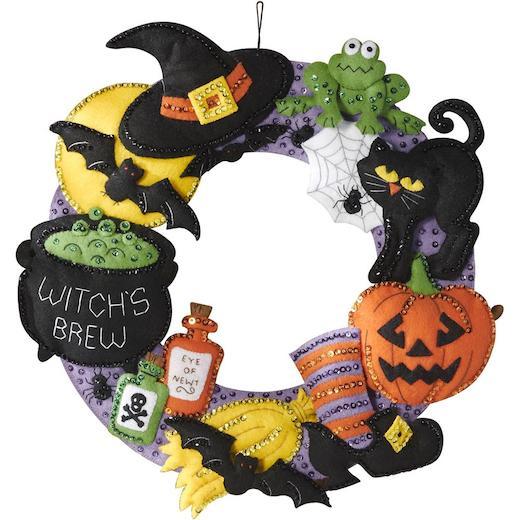 Made to Order Bucilla Halloween Wreath Halloween Wreath Witch/'s brew Felt Wreath Felt Wreath
