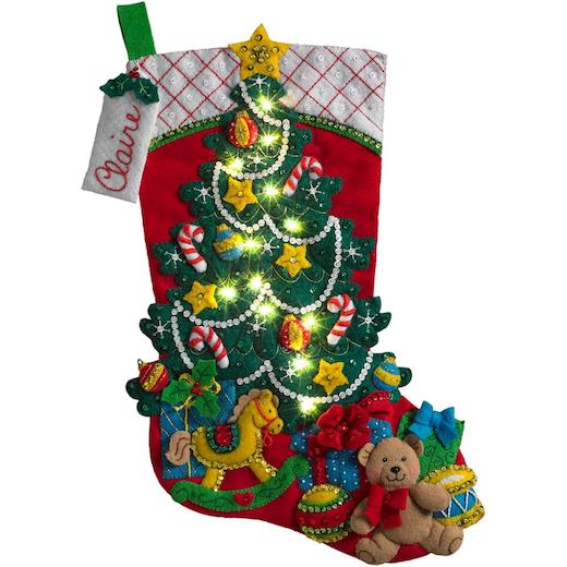Christmas Stocking Kit.Bucilla 18 Felt Christmas Stocking Kit Christmas Tree With Led Lights