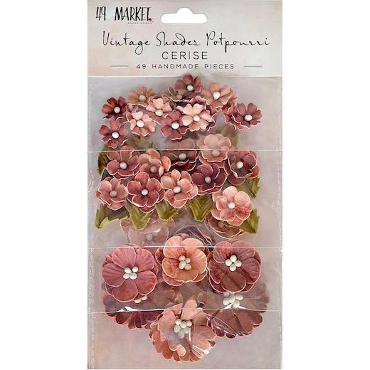 49 And Market Botanical Potpourri Mulberry Paper Flowers 49pcs Vintage Shades Cerise 49vs87 7124