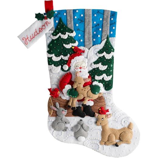 Christmas Stocking Kit.Bucilla 18 Felt Christmas Stocking Kit Santa S Forest Family