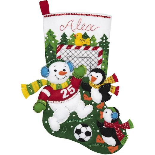 Christmas Stocking Kit.Bucilla 18 Felt Christmas Stocking Kit Snowman Soccer Fan