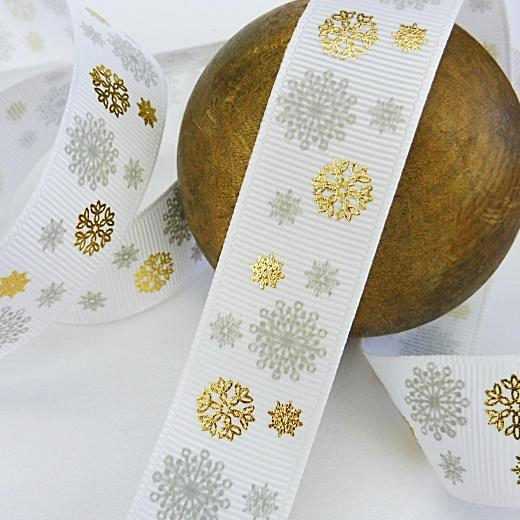 Buddly Crafts 22mm Christmas Foil /& Printed Grosgrain Ribbon 2m Snowflakes