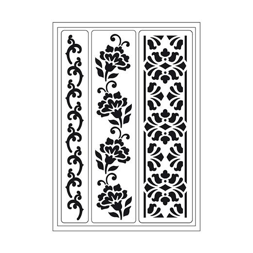 Viva Decor Flexible Sticky Stencil - Flowers Embroidery #101