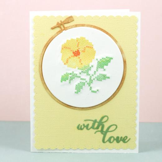 Waffle flower cutting die embroidery hoops