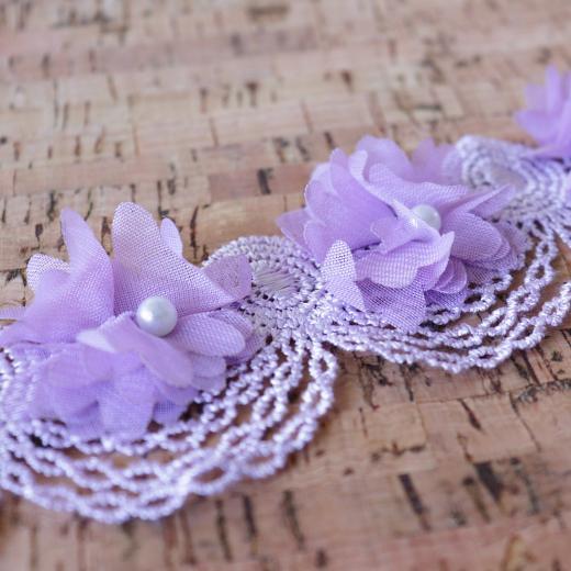 Buddly Crafts 50 mm perle en mousseline de soie fleurs guipure dentelle 1 m
