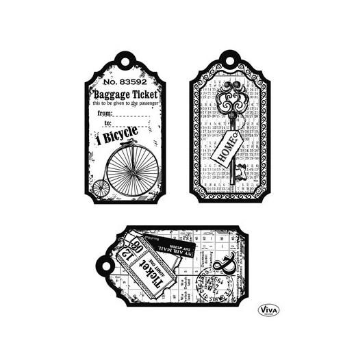 Viva Decor A5 Clear Silicone Stamps Set Tags Bicycle #120