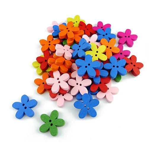 50pcs Buddly Crafts Wooden Flower Buttons