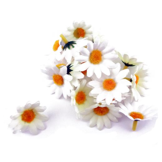 Buddly crafts flower heads 40mm daisies white fm6 for Flower heads for crafts