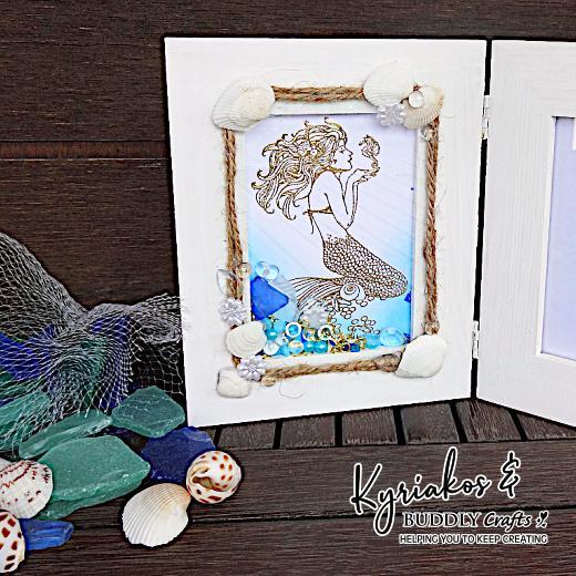 STAMPENDOUS Wood Handle Rubber Stamp Mermaid Image