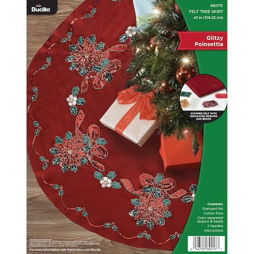 "Bucilla 43"" Felt Christmas Tree Skirt Kit - Glitzy ..."