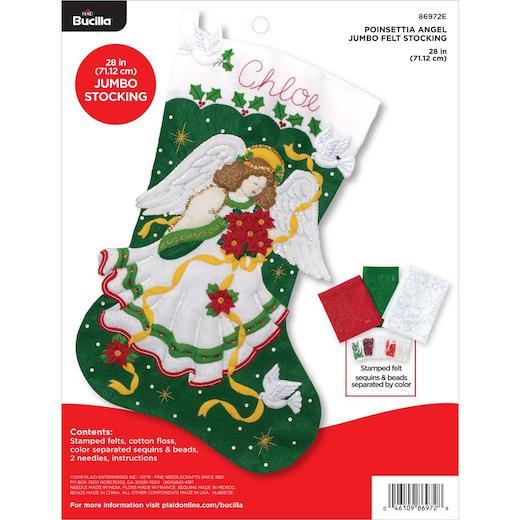 "Bucilla 28"" Felt Christmas Stocking Kit - Poinsettia Angel | Buddly Crafts"