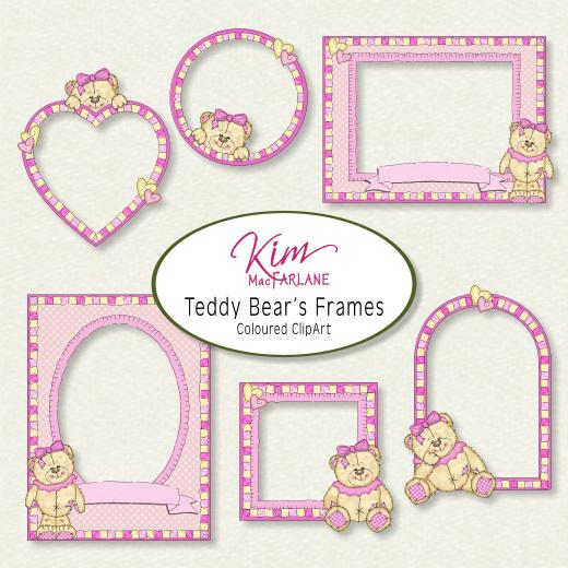 Kim\'s ClipArt - Teddy Bear Frames Pink | Buddly Crafts