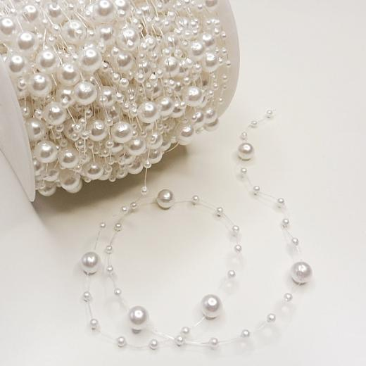 Buddly Crafts 3mm & 8mm Pearl Beads String 3m - White ...